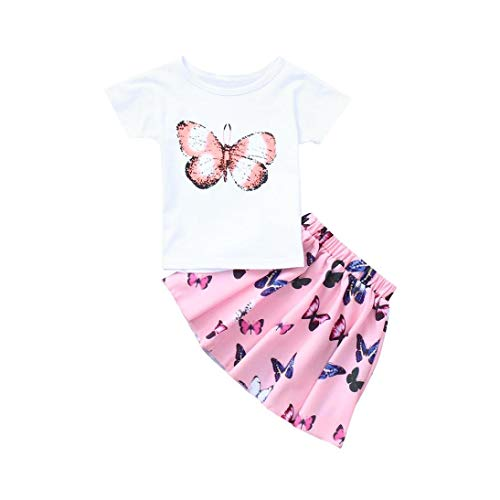 Toddler Little Girls Cute Outfits 2pc Set, Butterfly Print Short Sleeve Shirts Top+Skirt (Pink, 3-4T)]()