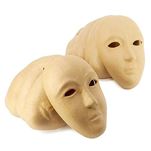 Factory Direct Craft Bulk Set of 48 Paper Mache Masks Ready to Paint, Decoupage and Decorate