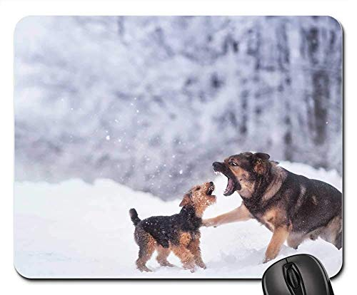 Gaming Mouse Pads,Mouse mat,Winter Dog Snow Game Play Fight Nature -