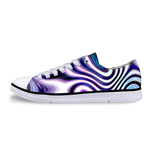 För U Designar Snygga Unisex Rand Wave Print Låg Topp Platta Skor Lätta Mode Sneaker Snörning Lila A