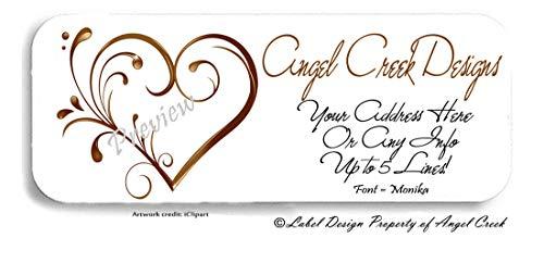 60 Personalized Return Address Labels - Golden Bronze Ornate Heart - Wedding Labels