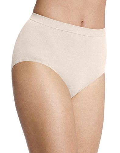 Bali Women`s Set Of 6 Comfort Revolution Microfiber Seamless Brief 8/9, Light Beige