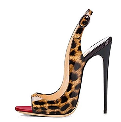 Onlymaker Women's Fashion Peep Toe Stilettos Pumps High-Heels Slingback Sandals Leopard 8 M US