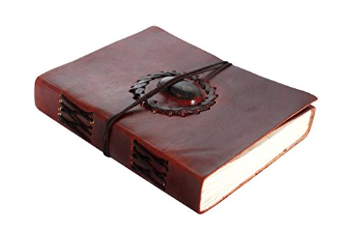 Handmade Leather Journal Bound Notebook with Gemstone Leather Diary Gifts for Him Her