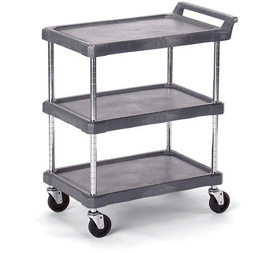 "Economical Polymer Utility Carts - 28""Wx17""D Shelf - 3 Shelves - Gray"