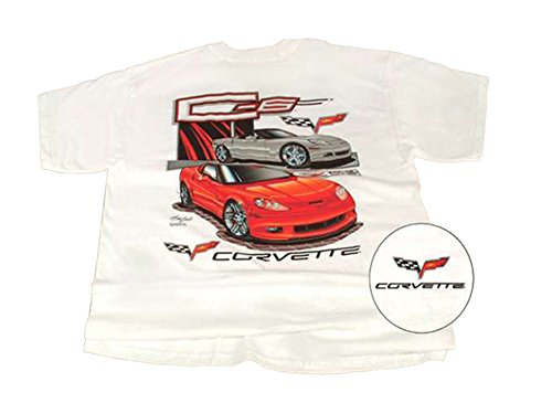 Corvette T-Shirt C6 2-Car White (Corvette White T-shirt)