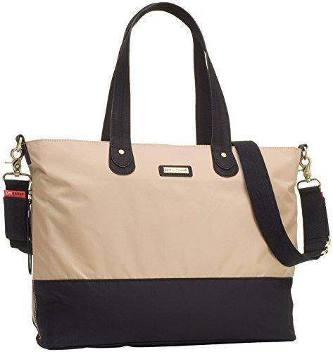 Storksak Color Block Tote Diaper Bag - Champagne/Black - Stork Sack Diaper Bags