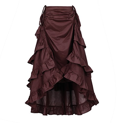 NIGHT BUTTERFLY Women's Costume Steampunk Cocktail Party Skirts Black High-Low (Medium, Wine (Steampunk Skirt)