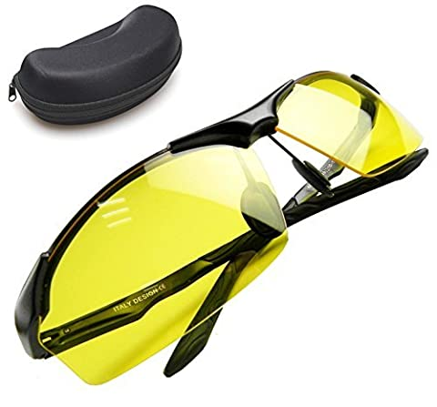Night Vision Glasses | Anti-glare UV400 Protected Polarized HD Night Vision Glasses for Safe Night Driving and Ultra Enhanced Vision, Lightweight Frame with Stylish Unisex Design, Black Case (Thermal Cameras For Sale)