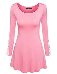 Zeagoo Women Comfy Long Sleeve Lace Decor Tunic Blouse Tops