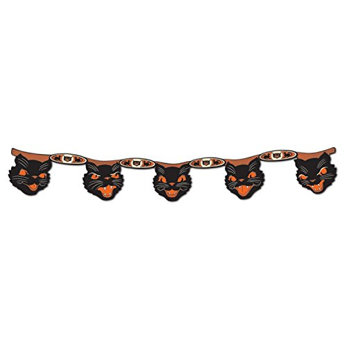 Club Pack of 12 Black and Orange Halloween Jointed Cat Streamer Hanging Decorations 4' by Party Central