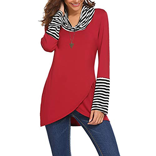 (St.Dona Womens Tunics Cowl Neck Long Sleeve Shirts Striped Patchwork Casual Layered A-Line Tops)