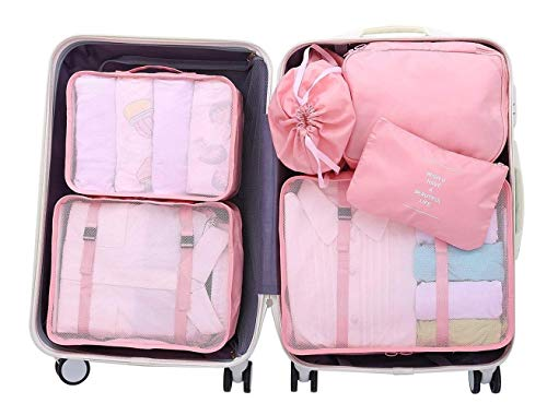 Luggage Organizer, Suitcase Packing Cubes, Compression Cells, Accessories Bags Made With Wearable Waterproof Material. Perfect for Travel, Long Trips, Camping (Pink - 6 PCS)