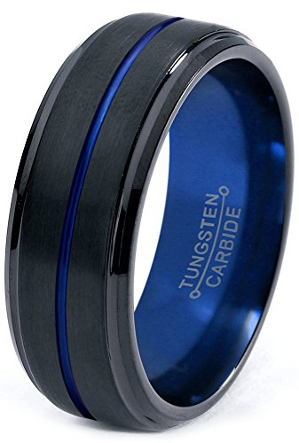 Tungsten Wedding Band Ring 8mm for Men Women Blue Black Beveled Edge Brushed Polished Size 9 by Chroma Color Collection