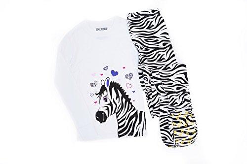 Big Feet PJs Zebra on White 2 Piece Footie Pajamas Kids Footed Pajamas