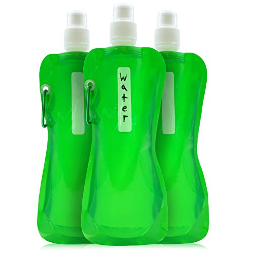 (Juvale Flat Collapsible Water Bottle (6-Pack) BPA-Free 16 Ounce Foldable Hydration Travel Flask, Green)