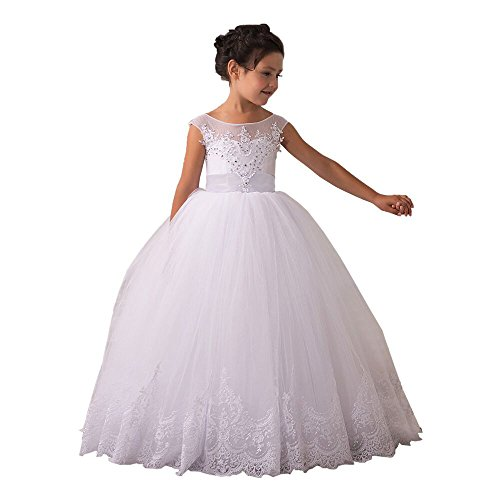 Flower Girls Dresses Long Vintage Lace First Communion Pageant Ball Gowns (Size 10, All White)