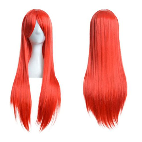 Red Hair Female Costumes (Inkach Women Long Straight Wig Cosplay Party Costume Hair Full Wig 80cm (Red))