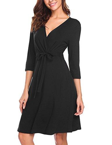 pasttry Womens Deep Cross V Collar 3/4 Sleeve Waist Tweed Dress (Tweed Wrap)