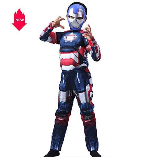 Children's Halloween Costumes Muscle Iron Man's Role Playing Stage Costumes Include A Head Mask, Available in Three Colors,Blue,L]()