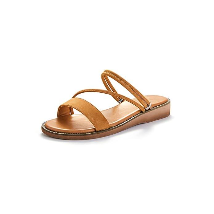 Jianxin Sandali Femmina Pantofole Piatte Semplice E Raffinato Due Modi Di Indossare Catena Colore Solido Casuale Pantofola Estate Nero Marrone 35 39 Metri