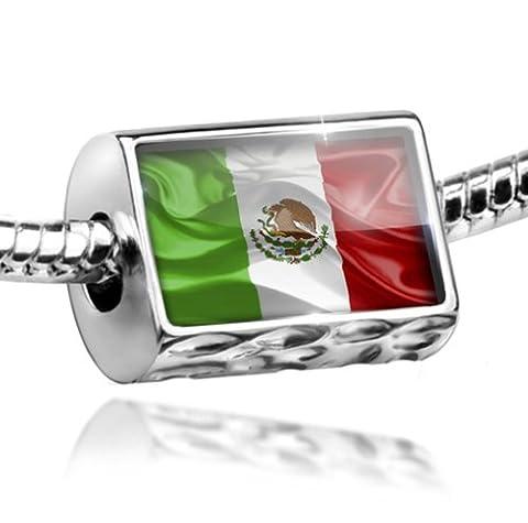 Charm Mexican 3D Flag - Bead Fit All European Bracelets , Neonblond