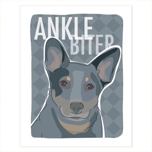 Cattle Dog Blue Heeler Art - Ankle Biter - Pop Doggie Dog Poster Sign