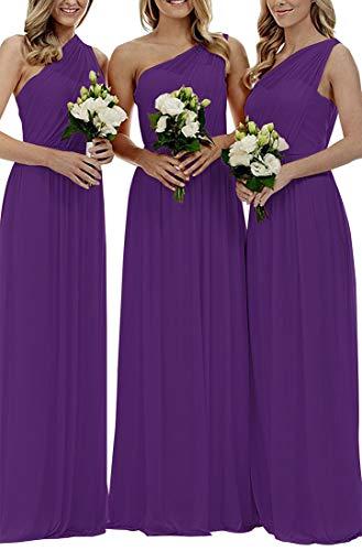 Staypretty Women's Long One Shoulder Bridesmaid Gown Asymmetric Prom Evening Dress Purple 18