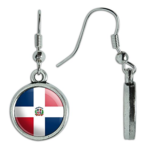 Novelty Dangling Drop Charm Earrings Country National Flag C-I - Dominican Republic National Country (Flag Charm Earrings)