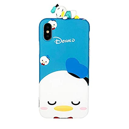 Ultra Slim Soft TPU Blue Donald Duck Doll Case for iPhone X XS Super Smooth Walt Disney 3D Cartoon Disneyland Sailor Cute Chic Lovely High Fashion ...
