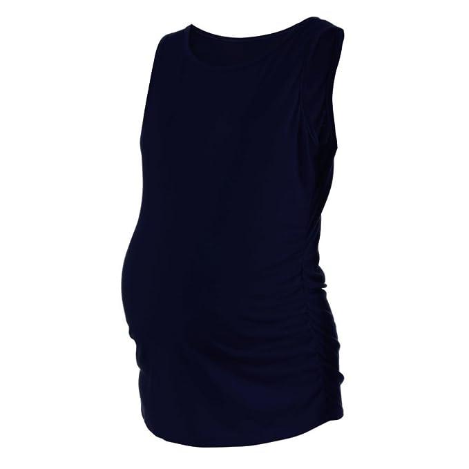 BBsmile camisa mujer Maternidad clásica para mujer lado acanalado Tops embarazo ropa sin mangas blusa (