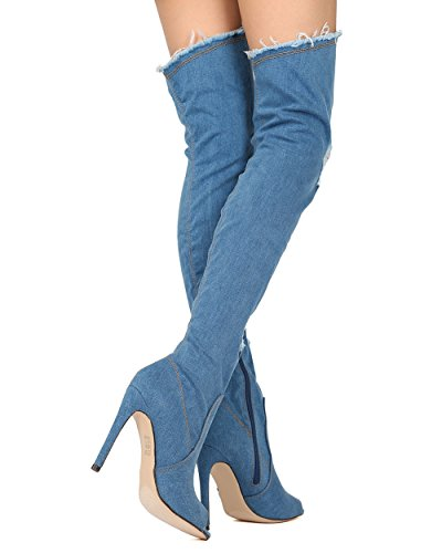 CAPE ROBBIN GB08 Distressed Denim Thigh High Peep Toe Stiletto Boot Denim pcfUsJRfB