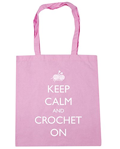 Pink and Gym Calm Tote Keep Shopping Classic Bag x38cm Beach On litres 42cm HippoWarehouse Crochet 10 S0EgZxqgw