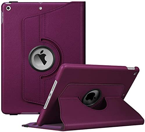 Fintie Rotating Case for New iPad 8th Gen (2020) / 7th Generation (2019) 10.2 Inch – [Built-in Pencil Holder] 360 Degree Rotating Smart Protective Stand Cover with Auto Sleep/Wake, Purple