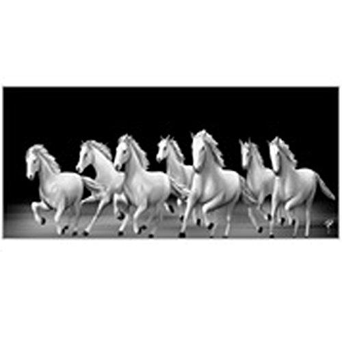 Ray Decor Matte Finish 7 Horse Running In Harmony On Canvas