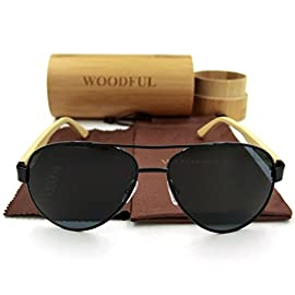Wood Bamboo Aviator Glasses Wooden Sunglasses 43 Reinforced Metal Hinges. Genuine Wood Bamboo from Sustainable Resources. They're Made with Actual Wood, so Every Pair is Different.