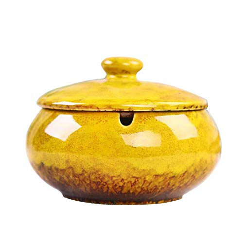 HOOKDOR Ceramic Ashtray with Lids,Windproof,Cigarette Stoner Ashtray for Indoor or Outdoor Use,Ash Holder for Smokers,Desktop Smoking Ash Tray for Home Office Decoration (Yellow)