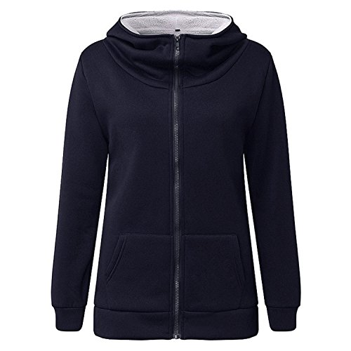 Renee Ander Simple Hooded Warm Coat Female Hoodies Fleece Pockets Jacket Outwears Sweatshirt Plus Size Navy XXL