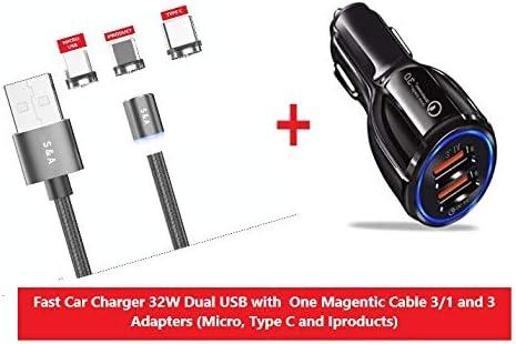 Cargador de coche S&A QC 3.0/6 A con cable de carga magnético 3 en 1,