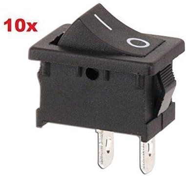 10x Mini Wippenschalter Einpolig Ein Aus Wippen Schalter Taste 1 Polig Wippschalter Eckig Schwarz Beleuchtung