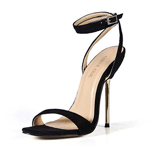Donna Tacco Partito Metallo a suede Negro Sandali Caviglia Sexy Cinturino Tacco Moda a CHMILE Scarpe Alto Spillo CHAU alla da wqt4tf