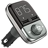 WPWPOO Vwpwpoo Transmitter Wireless Bluetooth FM Radio Adapter Car Kit with Hands-Dual-Free Calling and 2 Ports USB Charger 5V/5A&3.4A,Aux Input/Output, TF Card Mp3 Player, Black