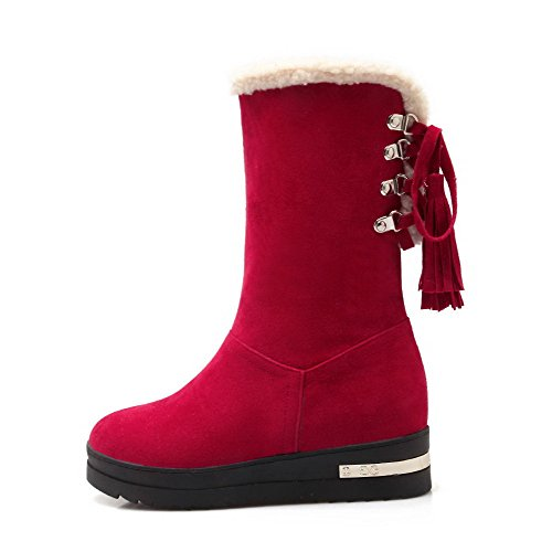 AllhqFashion Womens Lace Up Low Heels Frosted Solid Mid Top Boots Red