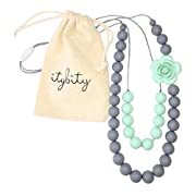 Baby Teething Necklace for Mom, Silicone Teething Beads, BPA Free (Gray/Mint)