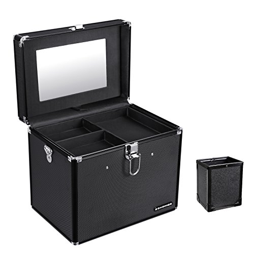 SONGMICS Makeup Train Case with Mirror and Brush Pot Portable Moire Pattern Cosmetic Storage Organizer with 1 Removable Tray Black (Makeup Travel Case Cosmetic Train)