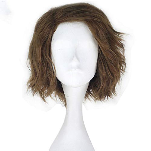 Synthetic Short Wavy Role Play Hair Green Black Flax Color Party Movie Cosplay Costume Wig For Halloween]()