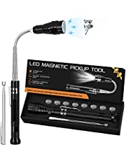 Gifts for Men Dad,Magnetic Pickup Tool with LED Lights,Telescoping Magnet Pick Up Tool-Unique Gadgets Gifts for Boyfriend/Father,Husband,Grandpa,DIY Handyman,Him,Women,12 Batteries,2Pc Set