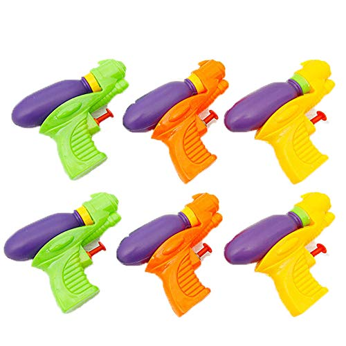 BeTwo 6PCS Small Size Plastic Water Squirt Gun for The Kid and Adult Summer Beach Pool Toys Assortment