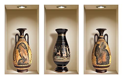 the Nisha Art Magic 3D Vinyl Removable Wall Sticker Decals DIY, Set of 3, Greek - Greek Art Vases