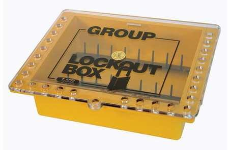 Group Lockout Box, 27 Locks Max, Yellow by SAALMAN SAFETY